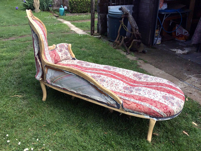 chaise longue needing new fabric