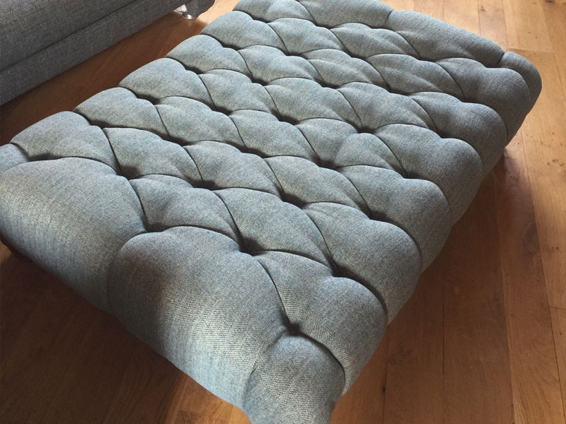 reupholstered footstool Normandy