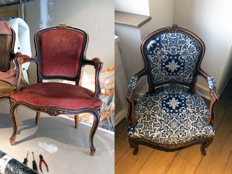 recover of antique chair